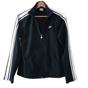 Nike Full Zip Black White Striped Track Jacket